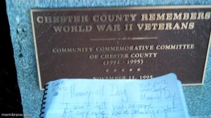 Writing Memory-all on Memorial Day, West Chester, Pennsylvania