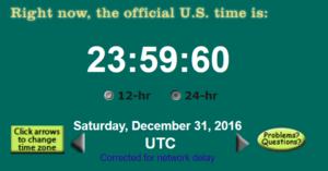 Screenshot of the UTC clock from www.time.gov during the leap second on December 31, 2016.